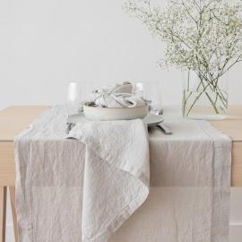 Guida da tavolo in lino argento Stone Washed