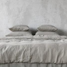 Copripiumino in lino grigio talpa Stone Washed