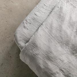 Lenzuolo con angoli in lino grigio talpa Stone Washed
