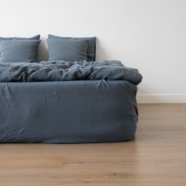 Lenzuolo con angoli in lino blu Stone Washed