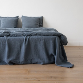 Lenzuolo in lino blu Stone Washed