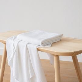 Asciugamano da Bagno in Lino bianco Washed Waffle