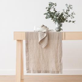 Guida da tavolo in lino color farina d'avena Stone Washed