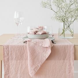 Guida da tavolo in lino rosa Stone Washed