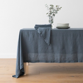 Tovaglia in lino blu Stone Washed