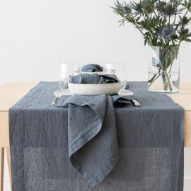 Guida da tavolo in lino blu Stone Washed