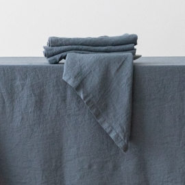 Tovagliolo in lino blu Stone Washed
