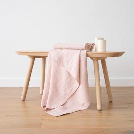 Asciugamano da Bagno in Lino Rosa Washed Waffle