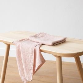 Set di 2 Asciugamani da Mano in Lino Rosa Washed Waffle