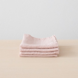 Set di 4 Asciugamani da Viso in Lino Rosa Washed Waffle