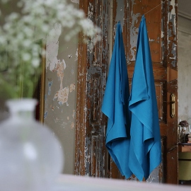 Asciugamano da bagno in lino turchese tessitura huckaback Lara