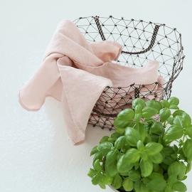 Set di 2 strofinacci in lino stone washed Rosa
