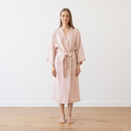 Accappatoio rosa in lino Washed Waffle