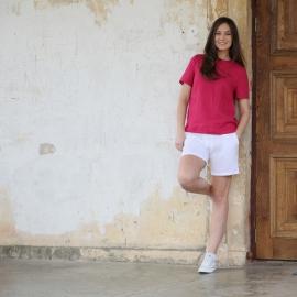 Pantaloncini in lino color bianco Toby