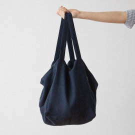 Borsa da spiaggia in lino night blue Lara