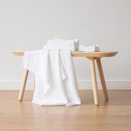 Set di Asciugamani da Bagno in Lino Bianco Ottico Washed Waffle
