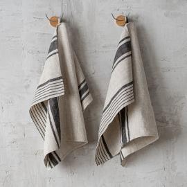 Set di 2 strofinacci da cucina in lino naturale e nero a strisce Provence