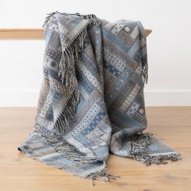 Telo in lana merino blu e grigio Marta