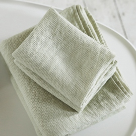 Set di Asciugamani da Bagno in Lino Aloe Verde Washed Waffle