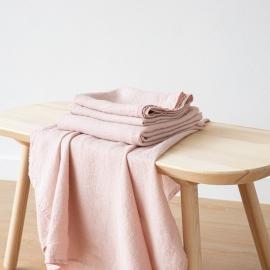 Set di Asciugamani da Bagno in Lino Rosa Washed Waffle