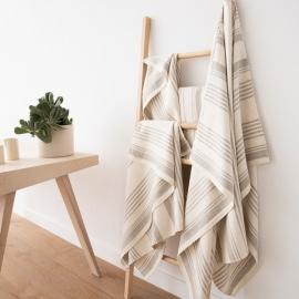 Set di asciugamani da bagno in lino crema Linum