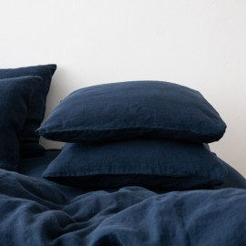 Federa da cuscino in lino navy blue Stone Washed