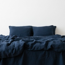 Navy Blue Federa in Lino Stone Washed