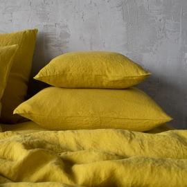 Federa da cuscino in lino citrine Stone Washed