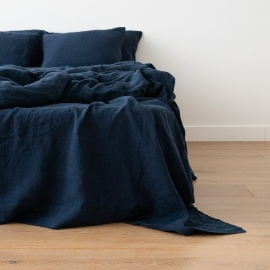 Lenzuolo in lino navy blue Stone Washed