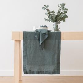 Guida da tavolo in lino Stone Washed Balsam Green