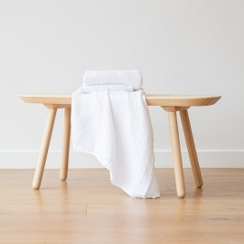 Asciugamani da bagno in lino White Waffle Washed
