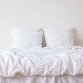 Set di biancheria da letto in lino bianco ottico Stone Washed