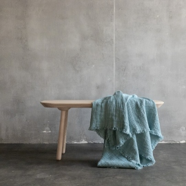Telo in Lino con Frange Stone Blue Washed Waffle