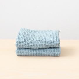 Set di 2 asciugamani da mano in lino Stone Blue Washed Waffle