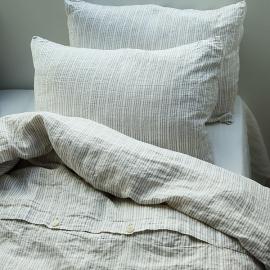 Copripiumino in lino natural white Washed Multistripe