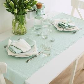 Guida da tavolo in lino Terra Mint