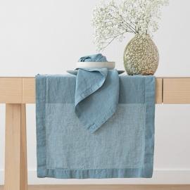 Guida da tavolo in lino Stone Washed Stone Blue