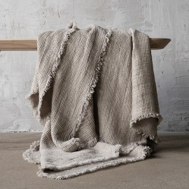 Telo in Lino con Frange Natural Washed Waffle