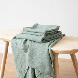 Set di Asciugamani da Bagno in Lino Spa Green Washed Waffle