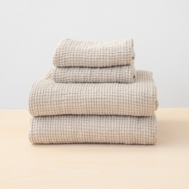 Set di asciugamani in lino Natural Washed Waffle