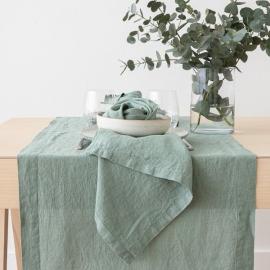 Guida da tavolo in lino Stone Washed  Spa Green