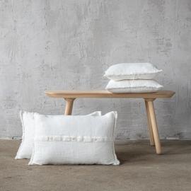 Rustico Fringe Cuscino Bianco