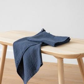 Set di 2 Asciugamani da Mano in Lino Indigo Washed Waffle