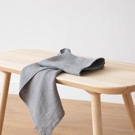 Set di 2 Asciugamani da Mano in Lino Graphite Washed Waffle