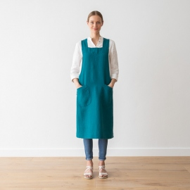 Grembiule in lino blu marino Pinafore Stone Washed