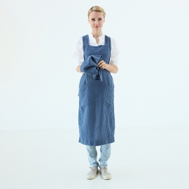 Grembiule in lino indaco Pinafore Stone Washed