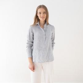 Camicia navy a strisce in lino