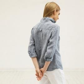 Blue Melange Camicia in Lino Ernesto
