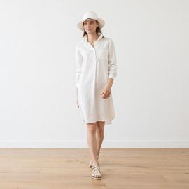 Camicia abito in lino bianco Camilla