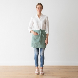 Cafe Apron Spa Green Stone Washed Linen
